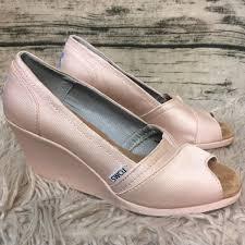petal grosgrain toms 75 toms shoes toms petal pink grosgrain peep toe satin