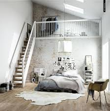 airy and fresh scandinavian bedroom with upstairs closet by
