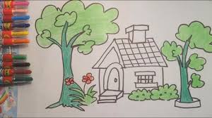 Paint House Teach Drawing To Kids How To Draw And Paint House Tree In The