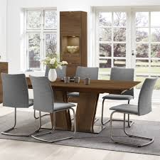 chair alluring byron modern walnut stainless steel dining table