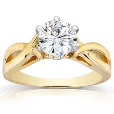 gold 1 carat engagement rings annello by kobelli 14k yellow gold 1 carat 6 prong
