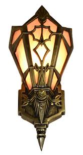 Wall Sconce Art Deco Art Deco Slip Shade Amber Wall Sconce Antique Brass Finish