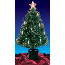 Christmas Tree With Optical Fiber Lights - 3 u0027 pre lit fiber optic artificial christmas tree with candles