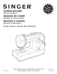 singer sewing machine 384 18028300 pdf user u0027s manual free