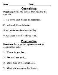 editing for capitalization and punctuation worksheets