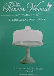 Halloween Cake Plate Stand by Amazon Com Pioneer Woman Pedestal Cake Plate U0026 Glass Lid Jadeite