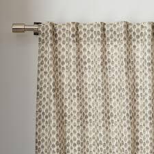 cotton canvas stamped dots curtains set of 2 platinum west elm
