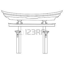 vector illustration of torii gate black silhouette japanese