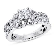 Circle Diamond Wedding Ring by Calista 14k White Gold I1 Round Diamond Engagement Ring 2 Ctw