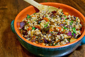 planning for thanksgiving farro and rice with roasted autumn