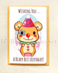 birthday cards for kids clown 4x6 inch happy birthday card beary birthday
