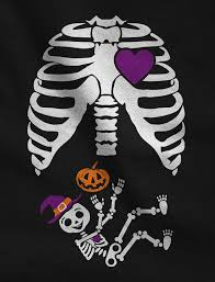 Cute Maternity Halloween Shirts Halloween Pregnant Skeleton Xray Costume Pregnant Maternity Long