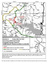 Flagstaff Arizona Map by Coconino National Forest Alerts U0026 Notices