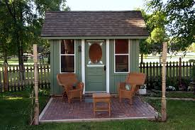 fort a day tiny green cabin a backyard shed office and playhouse