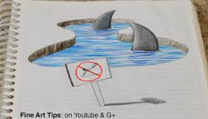drawing 3d sharks on my notebook 3d anamorphic drawing time