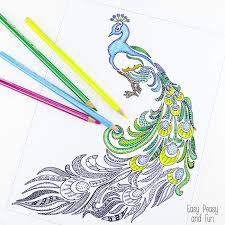 easy peasy coloring page peacock coloring page for adults easy peasy and fun