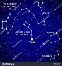 Map Of Constellations Map Starry Sky Constellations Northern Hemisphere Stock Vector
