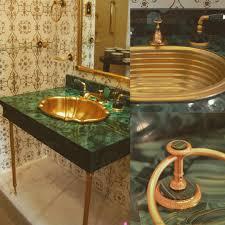 sherle wagner vintage malachite u0026 gold plated washbasin faucet