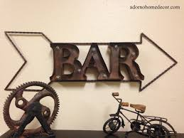 lighted marquee rustic metal bar sign wall decor arrow industrial