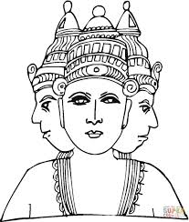 hindu deity with three heads coloring page free printable