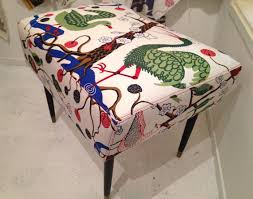 design collective footstool covered in josef frank print for flock design collective