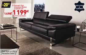 confo canapé canapé fixe 3 places roma coloris noir prix promo conforama 1