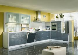 Kitchen Yellow Walls - contemporary grey kitchen cabinets with gray tile floor and yellow