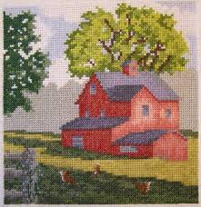 country morning cross stitch pattern architecture
