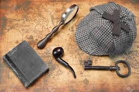Old Map Background Overhead View Of Sherlock Holmes Deerstalker Hat And Private