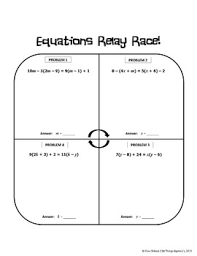 multi step equations relay race activity by all things algebra tpt