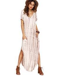 makemechic casual maxi short sleeve split tie dye long dress at