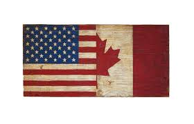 Flag Of The United States Of America Half Usa Half Canada Wood Flag Sign United States Of America