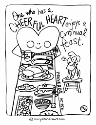 a heart of thanksgiving scripture cheerful heart continual feast free thanksgiving coloring page