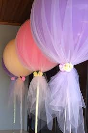 decorations for bridal shower balloons and tulle are for a party or wedding shower