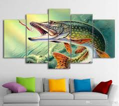 2017 canvas art fishing hooked pike fish canvas painting wall 2017 canvas art fishing hooked pike fish canvas painting wall pictures for living room home decor drop ship poster and from z1151832585 9 05 dhgate com