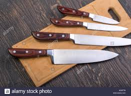 dice meat stock photos dice meat stock images alamy a set of high quality kitchen knives on a cutting board stock image
