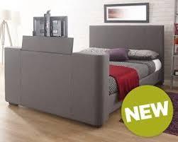 Kingsize Tv Bed Frame Barnard Grey Fabric Push Button Electric Tv Bed Frame 4ft6