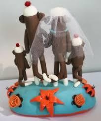 sock monkey wedding cake topper sock monkeys sitting by spiritmama