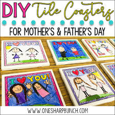 Diy Coasters Mother U0027s U0026 Father U0027s Day Diy Tile Coasters One Sharp Bunch
