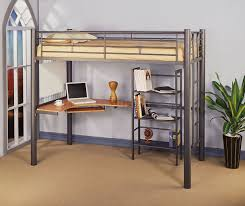 Kids Bedroom Furniture Bunk Beds Siver Metal Contemporary Twin Loft Bed W Desk U0026 Bookcase