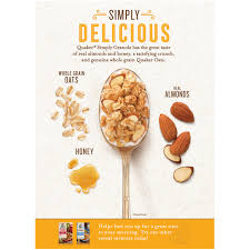 quaker simply granola oats honey u0026 almonds 28 oz box walmart com