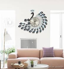 living room wall clock peacock wrought iron wall clock with diamonds living room