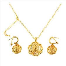 saudi arabia gold earrings buy 14k gold plated flower design set of necklace earrings
