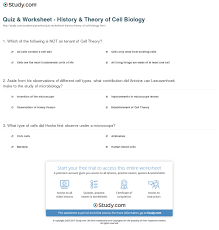 Holt Biology Worksheet Answers Quiz Worksheet History Theory Of Cell Biology Study Com