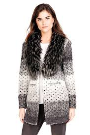 sweater with faux fur collar grey marble knit sweater with faux fur collar womens faux fur