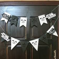 wars decorations party garland wars flags bunting black and white banner home