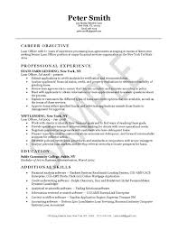 Job Objective Examples For Resume by Loan Officer Resume Example Resume Examples
