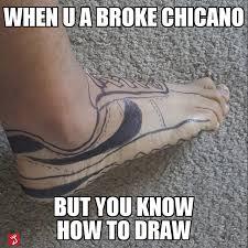 Shoes Meme - no shoes no problem for chicano artists phototoon pocho
