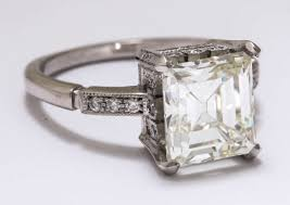 vintage emerald cut engagement rings vintage asscher emerald cut carat diamond platinum engagement