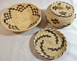 lot of 3 handmade native american indian papago coiled baskets